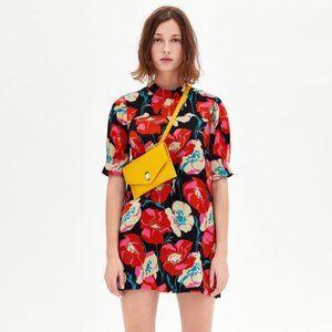 ZARA floral print mock neck shift dress X8